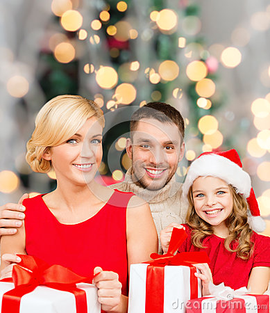 Free Happy Family With Gift Boxes Stock Photo - 45060340