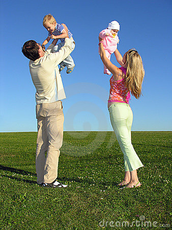 Free Happy Family With Two Children On Blue Sky Royalty Free Stock Photo - 221205