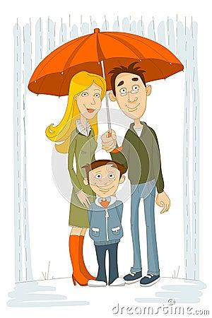 Free Happy Family With Umbrella Under Rain Stock Photo - 13217200