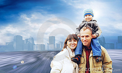 Happy familynear the city
