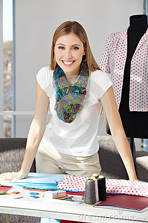 Happy fashion designer in her