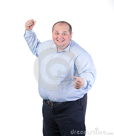 Happy Fat Man in a Blue Shirt