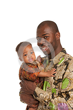 Happy Father Holding Baby High Key Portrait
