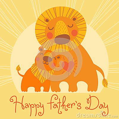 Happy Father s Day card. Cute lion and cub.