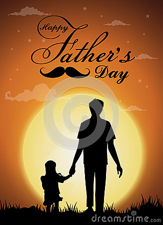 Free Happy Father`s Day, Silhouette Of A Father Holding Daughter.full Moon Background Royalty Free Stock Photo - 94350375