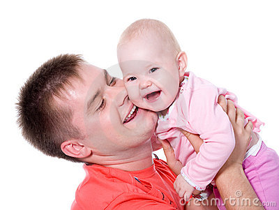 Happy father with smile holding his baby
