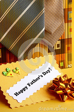 Fathers Day Card and Gifts Ties, Bow - Stock Photo