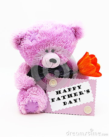 Happy Fathers Day Card - Teddy Bear Stock Photo