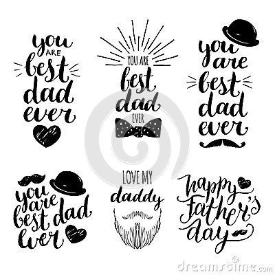Free Happy Fathers Day Vintage Logotypes Set. Vector Calligraphy Collection, You Are Best Dad Ever, Love Me Daddy Etc. Stock Image - 91899401