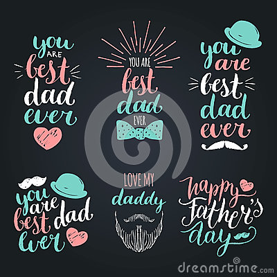 Free Happy Fathers Day Vintage Logotypes Set. Vector Calligraphy Collection, You Are Best Dad Ever, Love Me Daddy Etc. Royalty Free Stock Images - 91899429