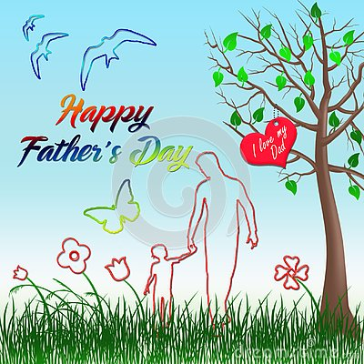 Happy fathers day. Walking with my father Stock Photo