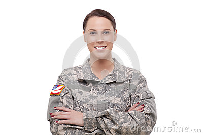 Happy female army soldier