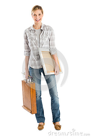 Free Happy Female Artist With Canvas And Wooden Case Royalty Free Stock Photos - 32145778