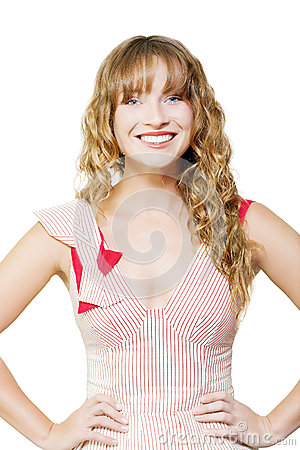 Happy female business worker on white background