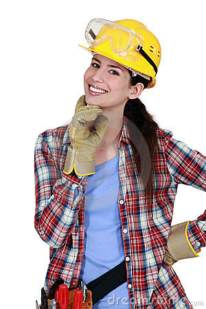 Happy female carpenter