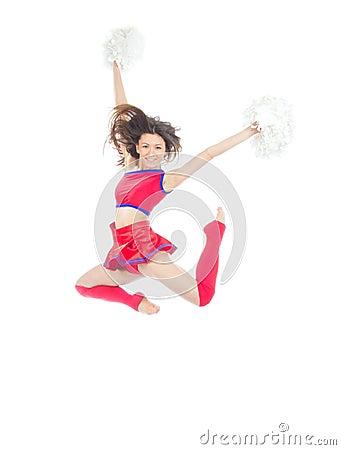 Happy female cheerleader dancer from cheerleading