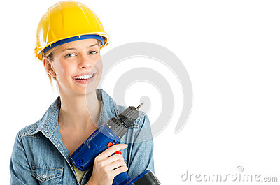 Happy Female Construction Worker Holding Cordless Drill