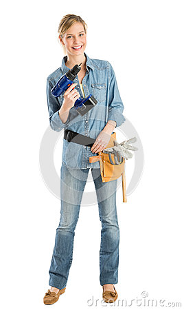 Free Happy Female Construction Worker With Drill And Tool Belt Royalty Free Stock Photos - 32146248