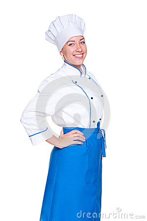 Happy female cook in uniform