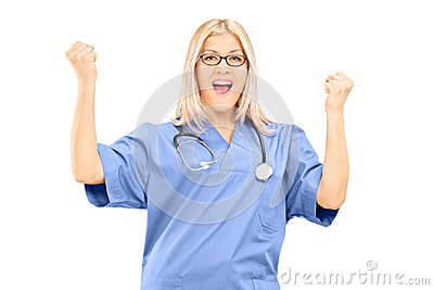 Happy female doctor gesturing happiness isolated on white backgr