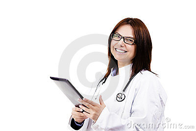 Happy female doctor with a tablet pc