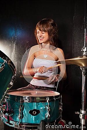 Happy female drummer