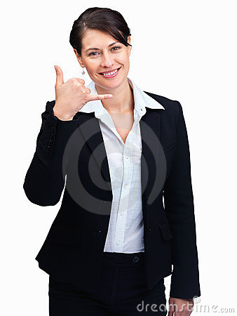Happy female entrepreneur gesturing a call me sign