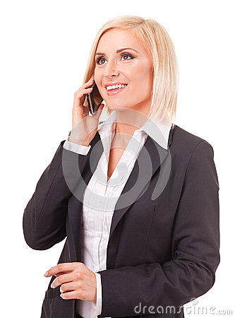 Happy female executive speaking on a cellphone