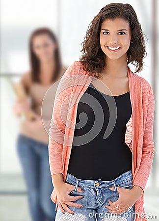 Happy female highschool student