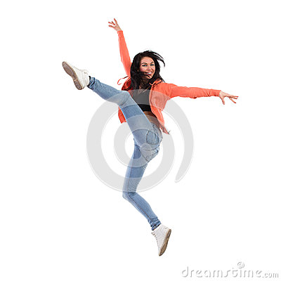 Happy female jumping