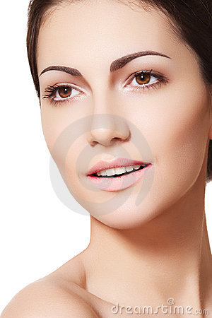 Happy female model face with healthy clean skin