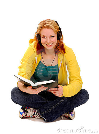 Happy Female Student Reading