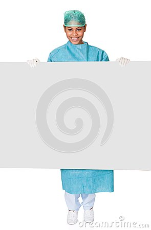 Happy Female Surgeon Holding Placard