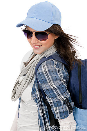 Happy female teenager wear cool outfit sunglasses