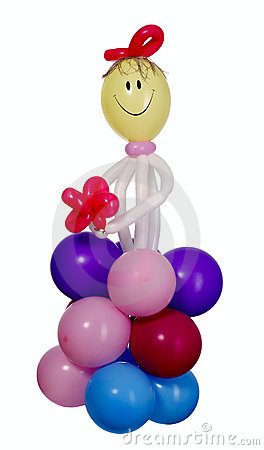 Happy figure with many balloons
