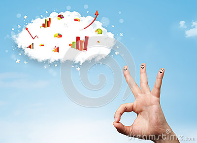 Happy finger smiley with graph cloud icons in the sky Stock Photo