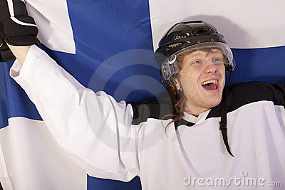 Happy finnish ice hockey player
