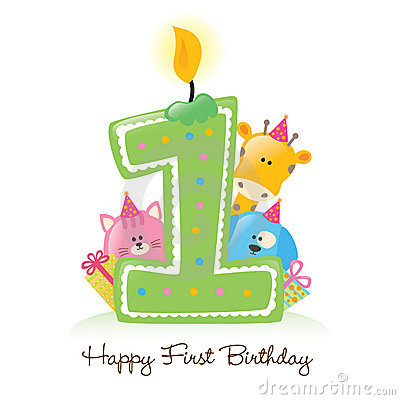 Free Happy First Birthday Candle Stock Photography - 9945722