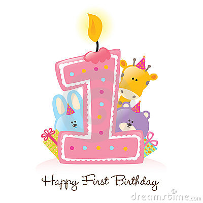 Free Happy First Birthday Candle And Animals Isolated Stock Image - 10890811