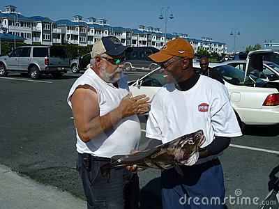 Happy Fishermen With Cod Editorial Stock Image