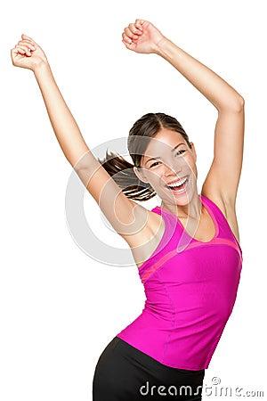 Happy fitness dance class woman dancing