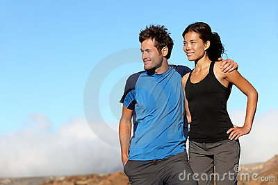 Happy fitness sporty couple outdoors