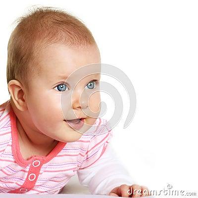 Happy five months old baby portrait
