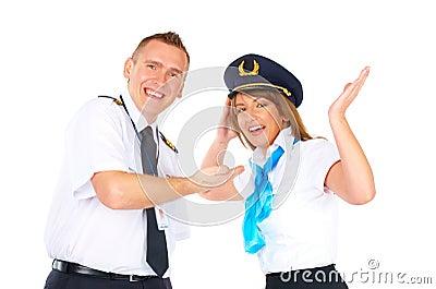 Happy flight crew