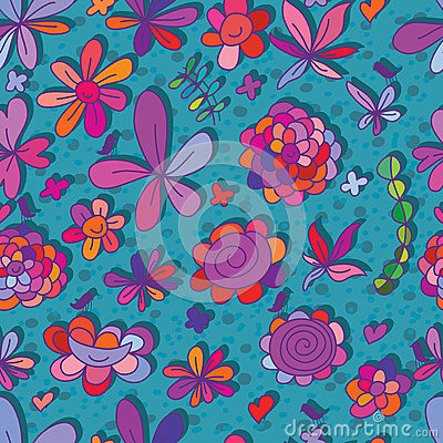 Free Happy Flower Small Bird Seamless Pattern Stock Image - 57320021