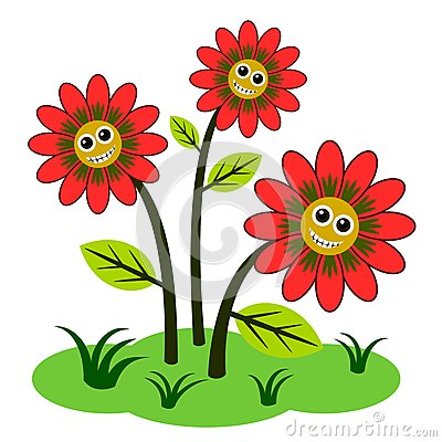 Cute Cartoon Flowers With Faces