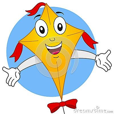 Happy Flying Kite Cartoon Character