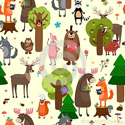Free Happy Forest Animals Seamless Pattern Background Royalty Free Stock Photos - 50591208