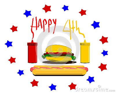 Happy fourth  design with hamburger and condiments
