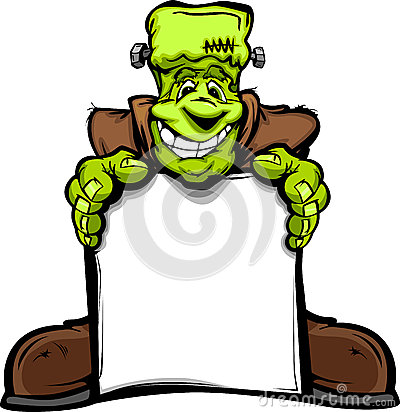 Happy Frankenstein Halloween Monster with Sign